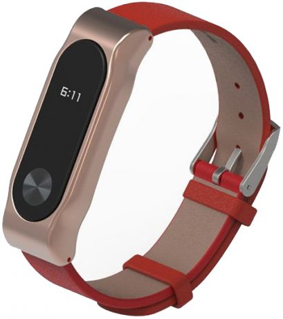 Xiaomi Leather Wristband - сменный ремешок для Xiaomi Mi Band 2 (Red/Gold)