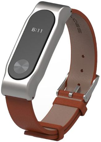 Xiaomi Leather Wristband - сменный ремешок для Xiaomi Mi Band 2 (Silver/Brown)
