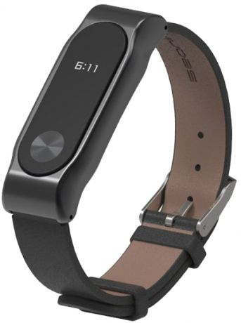 Xiaomi Leather Wristband - сменный ремешок для Xiaomi Mi Band 2 (Grey/Black)