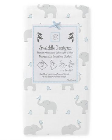 SwaddleDesigns Marquisette Pastel Elephant and Chickies пастельно-голубая