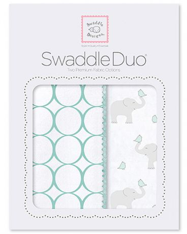 SwaddleDesigns Pastel Mod Elephant and Chickies 2 шт. морской кристалл