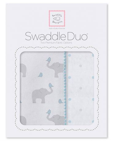 SwaddleDesigns Pastel Elephant and Chickies 2 шт. пастельно-голубые