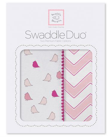 SwaddleDesigns Little Chickies and Chevron 2 шт. фуксия