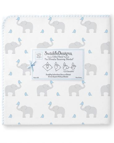 SwaddleDesigns Pastel Elephant and Chickies голубая