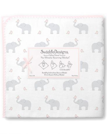 SwaddleDesigns Pastel Elephant and Chickies розовая