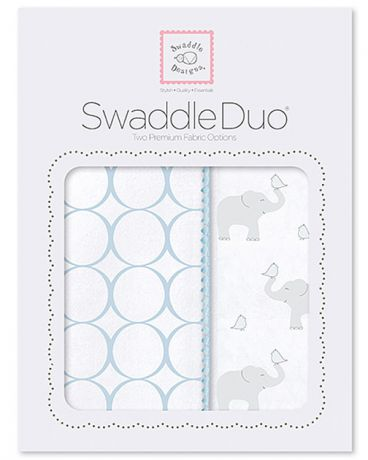SwaddleDesigns Pastel Mod Elephant and Chickies 2 шт. пастельно-голубые