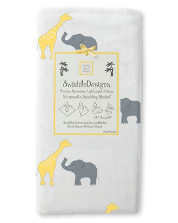 SwaddleDesigns Marquisette Safari Fun желтая