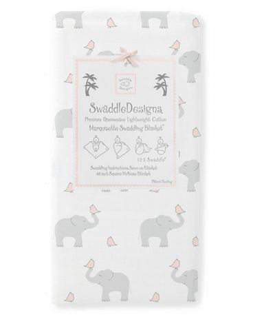 SwaddleDesigns Marquisette Pastel Elephant and Chickies пастельно-розовая