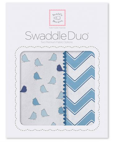 SwaddleDesigns Little Chickies and Chevron 2 шт. синие