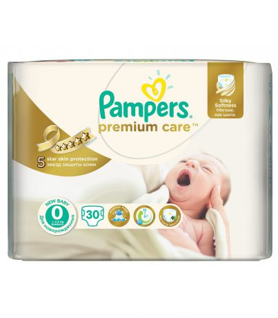 Pampers Premium Care 0 (1-2.5кг) 30 шт.