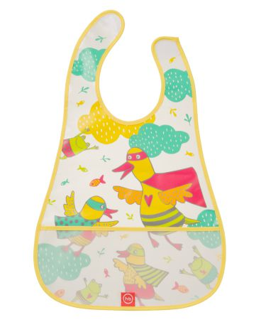 Happy baby на липучке Waterproof baby bib Ducks yellow