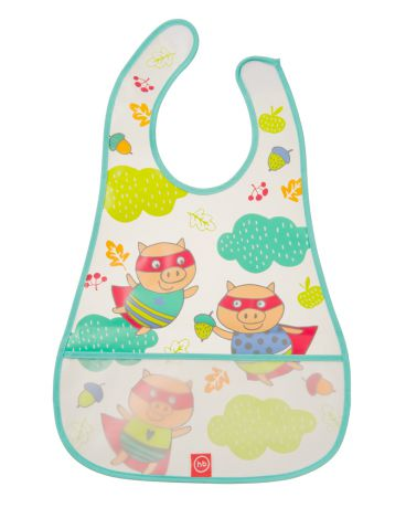 Happy baby на липучке Waterproof baby bib Pigs mint