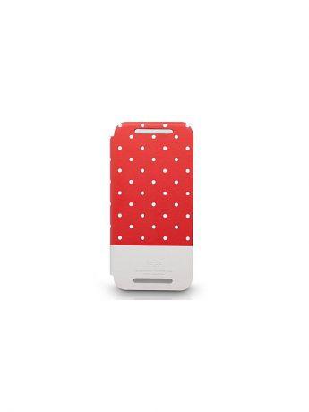 Kajsa Чехол для HTC Mini2 (M8 mini) Neon Collection Glow-inthe-Dark Dot pattern Folio case,Red