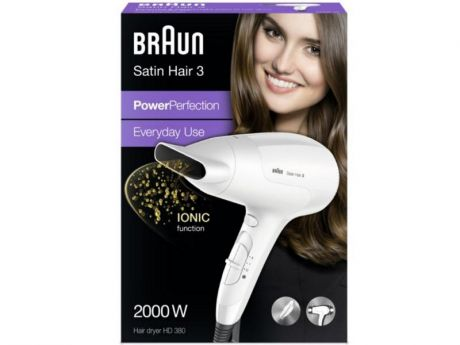 Фен Braun HD 380 Satin Hair3 2000Вт белый