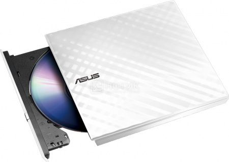 Привод оптический внешний DVD-RW ASUS White Slim Ret. Karim Rashid Collection SDRW-08D2S-U LITE, USB, Белый 90-DQ0436-UA221KZ