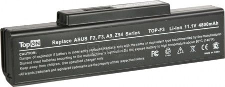 Аккумулятор TopON TOP-F3/TOP-A9 11.1V 4400mAh для Asus, MSI, RoverBook, Depo PN: A32-F3 A32-Z94 A32-F2 A32-K72 A32-N71 90-NFY6B1000Z