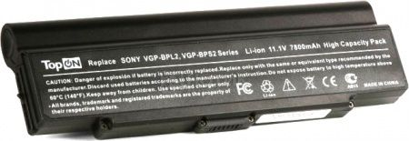 Аккумулятор TopON TOP-BPL2 11.1V 6600mAh для Sony Vaio PN: VGP-BPL2C VGP-BPS2A VGP-BPS2B VGP-BPS2C