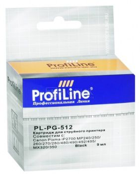 Картридж ProfiLine PL-PG-512 для Canon Pixma iP2700 MP240/250/260/270 MX320/330/340/350, Черный