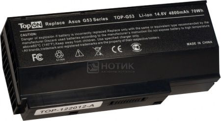 Аккумулятор TopON TOP-G53 14.8V 4800mAh для Asus PN: A42-G73 G73-52 90-NY81B1000Y 70-NY81B1000Z 07G016DH1875