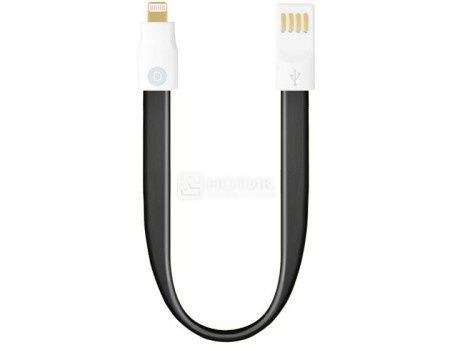 Кабель Deppa 72170, USB - Lightning 8-pin, 0.23м, Черный