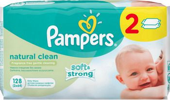 Салфетки детские Pampers Natural Clean 2х64 шт.