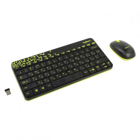 Клавиатура+мышь Logitech Wireless Combo MK240 Black / Yellow USB 920-008213