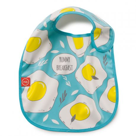 Нагрудник Happy Baby на липучке Waterproof Baby Bib Blue (яичница) 16009