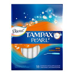 TAMPAX TAMPAX Discreet Pearl Тампоны женские гигиенические с аппликатором Super Plus Duo 18 шт.