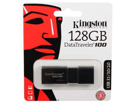 Флешка USB 128Gb Kingston DataTraveler 100 G3 DT100G3/128GB черный