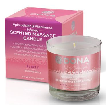 "Dona Scented Massage Candle Flirty Aroma Blushing Berry, 135 г Массажная свеча с ароматом ""Флирт"""