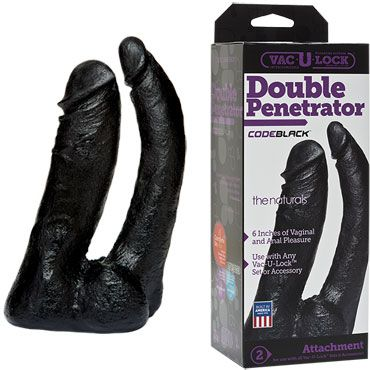 Doc Johnson Vac-U-Lock CodeBlack Double Penetrator Двойная насадка к трусикам