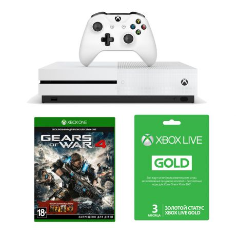 Игровая консоль Microsoft Xbox One S 1Tb + Gears of War 4 + Xbox Live Gold 3 месяца