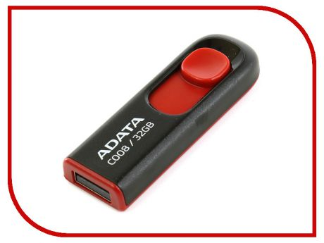 USB Flash Drive 32Gb - A-Data C008 Classic Black-Red AC008-32G-RKD