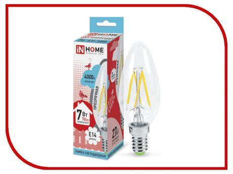 Лампочка IN HOME LED-СВЕЧА-deco 7W 4000K 230V 630Lm E14 Clear 4690612007618