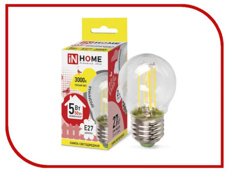 Лампочка IN HOME LED-ШАР-deco 5W 3000K 230V 450Lm E27 Clear 4690612007700