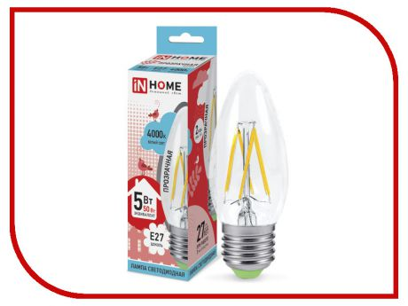 Лампочка IN HOME LED-СВЕЧА-deco 5W 4000K 230V 450Lm E27 Clear 4690612007595