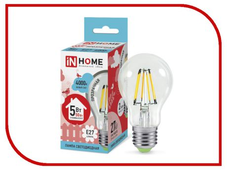Лампочка IN HOME LED-A60-deco 5W 4000K 230V 450Lm E27 Clear 4690612008035