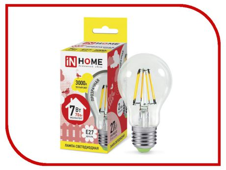 Лампочка IN HOME LED-A60-deco 7W 3000K 230V 630Lm E27 Clear 4690612008042