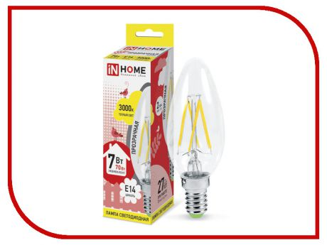 Лампочка IN HOME LED-СВЕЧА-deco 7W 3000K 230V 630Lm E14 Clear 4690612007601