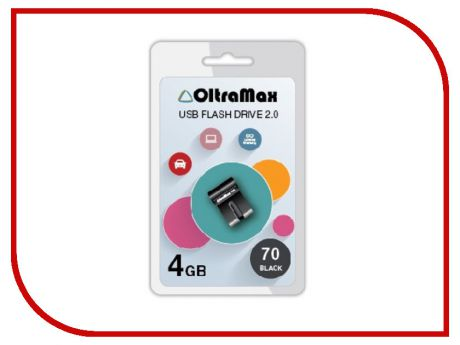 USB Flash Drive 4Gb - OltraMax 70 Black OM-4GB-70-Black