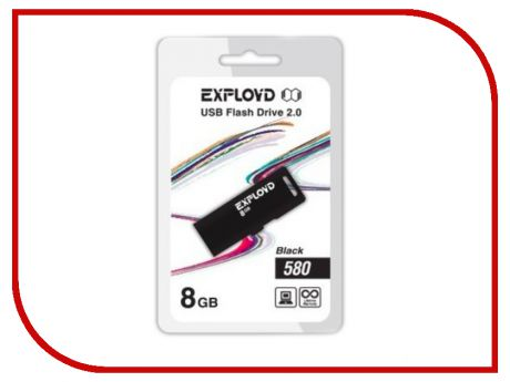 USB Flash Drive 8Gb - Exployd 580 EX-8GB-580-Black