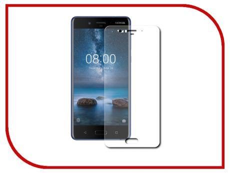 Аксессуар Защитное стекло Nokia 8 Red Line Full Screen 3D Tempered Glass Black