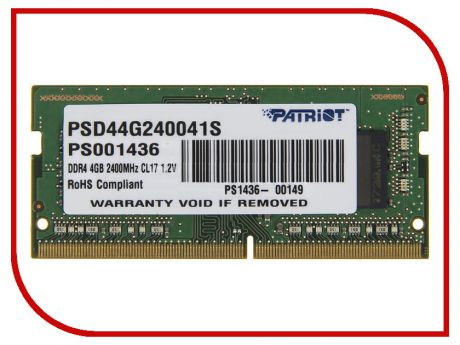 Модуль памяти Patriot Memory DDR4 SO-DIMM 2400MHz PC4-19200 CL17 - 4Gb PSD44G240041S
