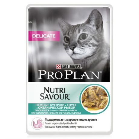 Упаковка паучей 24 шт Purina Pro Plan NutriSavour Delicate feline with Ocean Fish in gravy, 24 шт x 85 гр