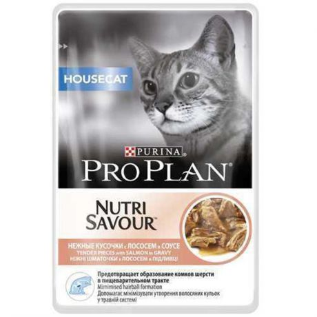 Упаковка паучей 24 шт Purina Pro Plan NutriSavour Housecat with Salmon in gravy, 24 шт x 85 гр