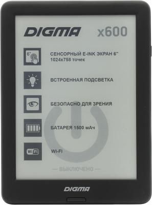"Электронная книга Digma X600 6"" E-Ink 8Gb черный"