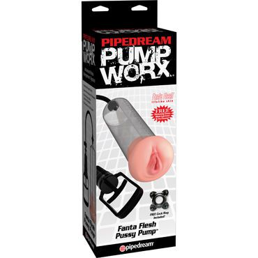 Pipedream Pump Worx Fanta Flesh Pussy Pump Вакуумная помпа с мастурбатором
