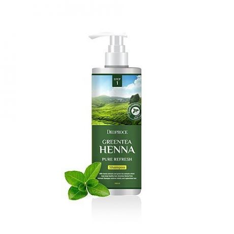 Восстанавливающий шампунь с хной и зеленым чаем Deoproce Greentea Henna Pure Refresh Shampoo 1000ml