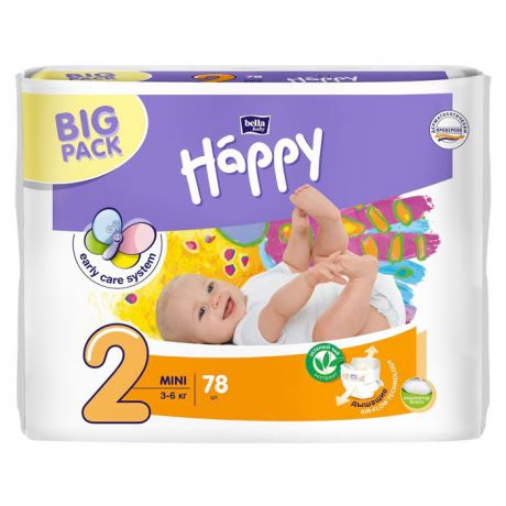 Подгузники Bella Baby Happy start 2 (3-6 кг) 78 шт