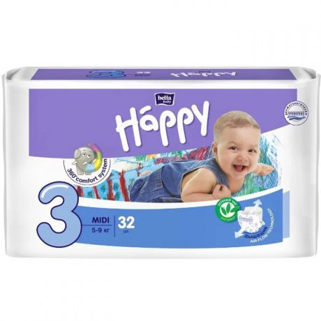 Подгузники Bella Baby Happy fun 3 (5-9 кг) 32 шт